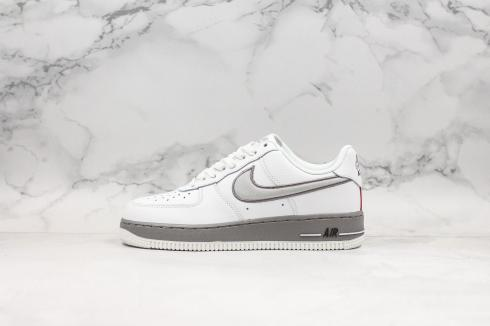 Nike Air Force 1 Low 07 Grey Summit White Red Shoes AH0968-033