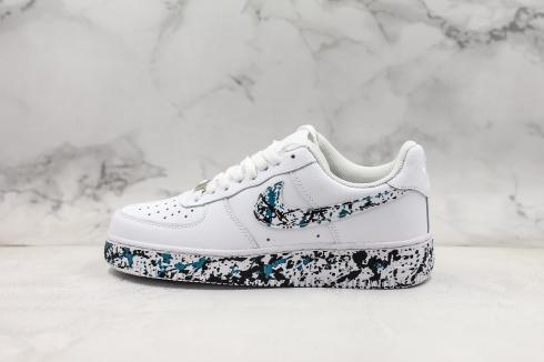 Nike Air Force 1 Low Summit White Black Blue Shoes 315115-110