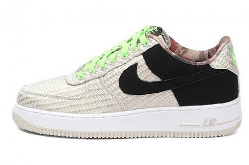 Nike Air Force 1 Low Woven Camo Mortar Black Flash Lime Mens Shoes 488298-035
