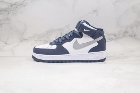 Nike Air Force 1 07 Mid Navy White Grey Blue Shoes AQ2263-115