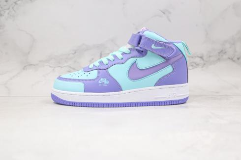 Nike Air Force 1 Mid Blue Purple White Running Shoes CV3039-107
