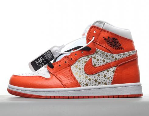 Supreme x Nike Jordan 1 Retro High White Orange Gold Stars 555088-121