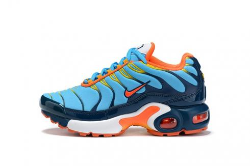 Nike Air Max Plus Running Shoes Youth GS Grade School Sneakers Blue Orange CQ9893-600