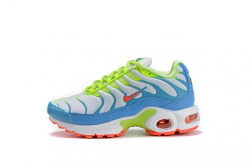 Nike Air Max Plus Spring Colors Youth GS Sneakers CJ9930-400 White Blue Gaze Hyper Crimson