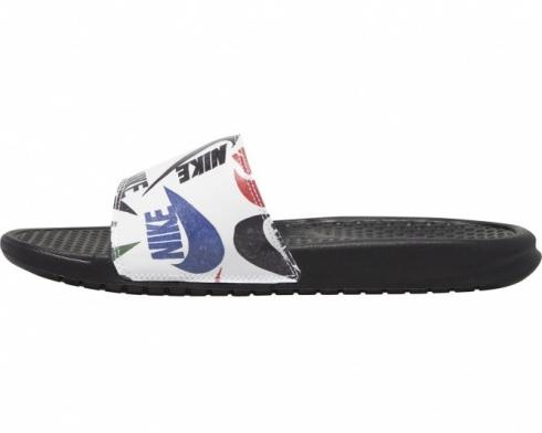 Nike Benassi JDI Print Slides White Black Blue Mens Sandals 631261-040
