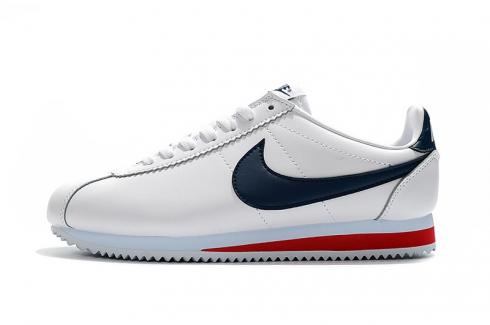 Nike Classic Cortez Nylon Prm Leather White Navy Blue Red Casual 807472-017