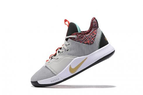 Nike PG 3 BHM Pure Platinum Orange Gold Paul George Comfy Basketball Shoes BQ6242-007