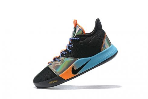 Nike PG 3 NASA EP Black Iridescent Blue Orange Paul George Basketball Shoes AO2608-038