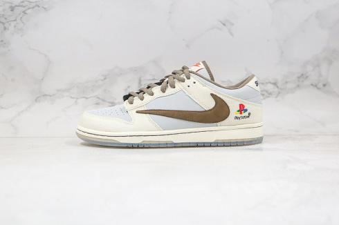 Nike SB Dunk Low SP TS Brown Grey White Light Blue Shoes CU1726-800