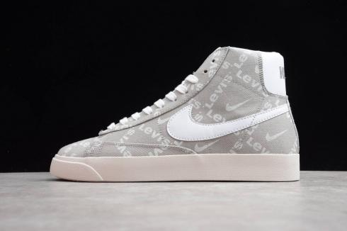 Nike Blazer Mid QS HH Light Grey White Hook Orange Casual Shoes QB6806-103