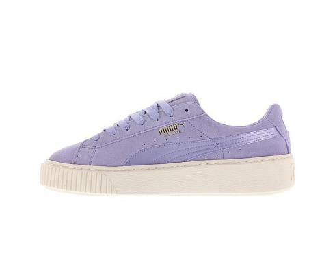 PUMA Basket Suede Platform Sweet Lavender White Gold Womens Shoes 365828-01