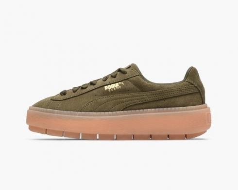Puma Suede Platform Trace Green Wmns Olive Night Womens Shoes 365830-03
