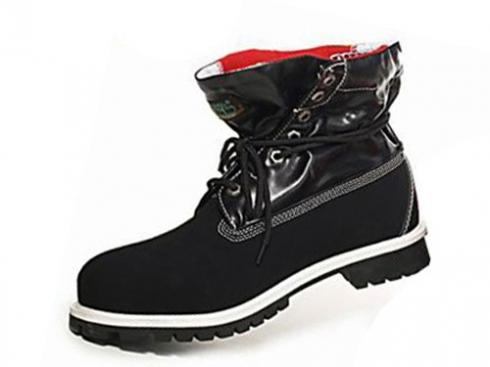 Black Red Timberland Roll-top Boots Men