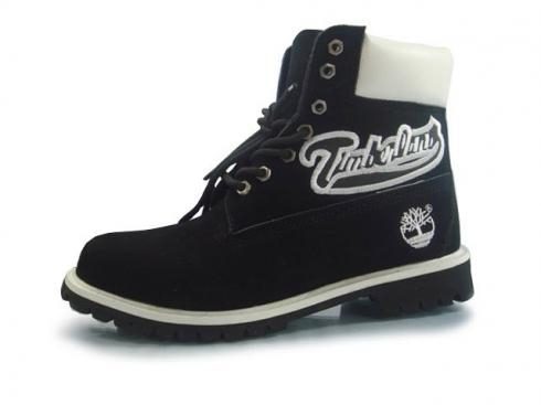 Black White Timberland Custom 6 Inch Boots Mens