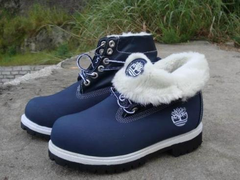 Timberland Blue White Women Roll-top Boots