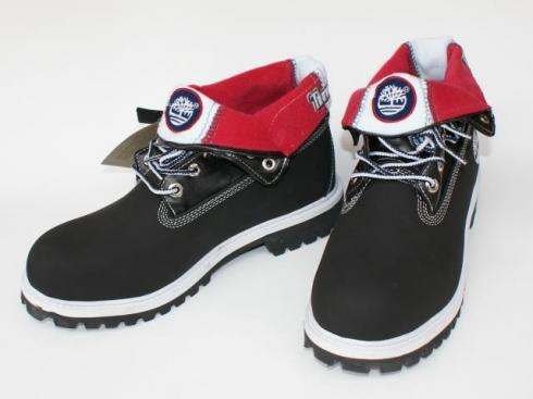 Timberland Roll-top Boots Black Red Women